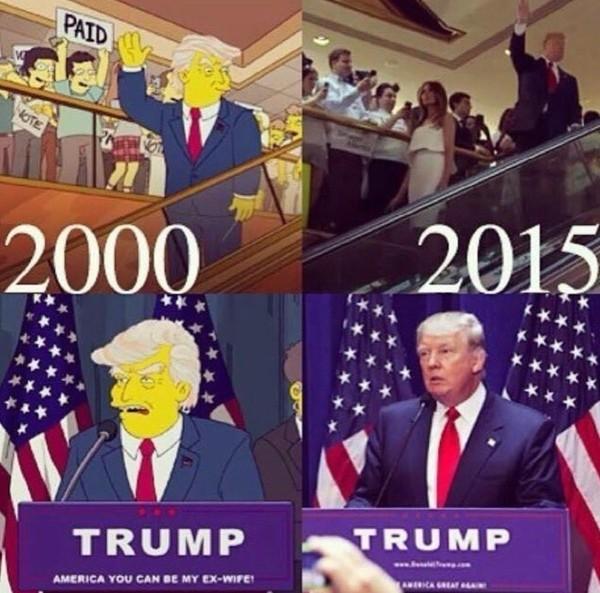 Д.Трамп в одной из серий «Симпсонов» за 2015 год и реальный Д.Трамп в 2015 году